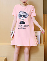 Maternity Casual/Daily Cute Loose Dress,Print Round Neck Above Knee Short Sleeve Pink Cotton Spring / Summer