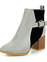Women's Boots Fall / Winter Fashion Boots / Square Toe Fleece / Office & Career / Dress / Casual Chunky Heel Buckle