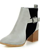 Damen-Stiefel-Büro / Kleid / Lässig-Vlies / Kunstleder-Blockabsatz-Quadratische Zehe / Modische Stiefel-Grau / Beige