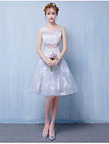 Short / Mini Tulle Bridesmaid Dress - Lace-up A-line Scoop with Appliques