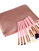 8 Pcs Pink Wood Handle Artificial Hair Makeup Brushes Sets With Bag