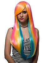 color del arco iris pelo largo, pelucas de la manera.