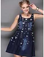 Boutique S Women's Going out Street chic Sheath Dress,Polka Dot Strap Mini Long Sleeve Blue Cotton Summer