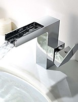 Contemporary / Modern Centerset Waterfall with  Ceramic Valve Single Handle One Hole for  Chrome , Bathroom Sink Faucet