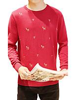 Мужской С принтом Пуловер На каждый день,Хлопок,Длинный рукав,Черный / Синий / Красный / Серый
