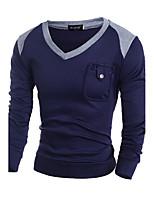 Herren Standard Pullover-Lässig/Alltäglich Einfach Einfarbig Blau Grau V-Ausschnitt Langarm Wolle Frühling Herbst Mittel Mikro-elastisch