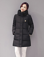 Women's Solid Blue / Pink / Red / White / Black / Gray Padded Coat,Simple Hooded Long Sleeve