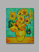 Stretched (Ready to hang) Hand-Painted Oil Painting Canvas Abstract Van Gogh repro Sunflowers Green Mini Size