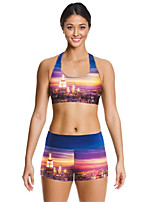 Running Clothing Sets/Suits Women's Sleeveless Breathable / Quick Dry Terylene Yoga / Fitness / Running Sports Sports Wear Stretchy Slim