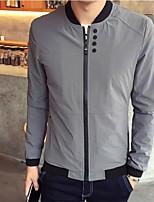 Men's Long Sleeve Plus Sizes Jacket,Nylon Solid Black / Blue / White / Gray