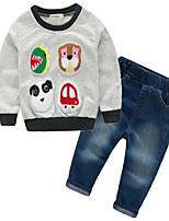 Мальчик Джинсы / Набор одежды,На каждый день,Животные принты,Хлопок,Весна / Осень,Серый