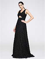 TS Couture® Formal Evening Dress A-line V-neck Floor-length Tulle with Flower(s)