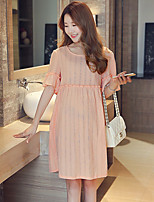 Maternity Holiday Cute Loose Dress,Solid Round Neck Above Knee Short Sleeve Pink Cotton Summer