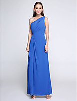 Lanting Bride® Ankle-length Chiffon Bridesmaid Dress - Elegant Sheath / Column One Shoulder with Side Draping