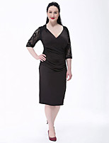 Women's Plus Size Vintage Sheath Dress,Patchwork V Neck Knee-length ½ Length Sleeve Red / Black Polyester Fall