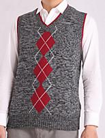 Men's Print Casual Vest,Cotton Sleeveless Black / Blue / Red