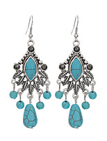 Ethnic Style Silver Water Drop Tassel Earrings Jewelry Vintage Turquoise Bohemia Carved Women Long Earring