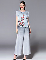 Mary Yan & Yu  Women's Going out Sophisticated Summer Set,Floral / Embroidered Round Neck Short Sleeve Gray Cotton
