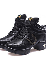 Non Customizable Women's Dance Shoes Leather Leather Jazz /Heels / Sneakers Chunky Heel Beginner