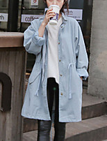 Women's Going out / Casual/Daily Vintage Trench Coat,Solid Round Neck Long Sleeve Fall Blue Nylon Medium