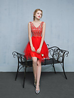 Cocktail Party Dress A-line V-neck Short / Mini Lace / Satin / Tulle with Bow(s)