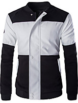 Men's Long Sleeve Casual / Formal Jacket,Special Leather Types Patchwork Black