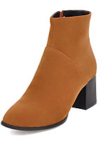 Women's Boots Fashion Boots / Square Toe Office & Career / Dress / Casual Chunky Heel Zipper Black / Yellow / Almond
