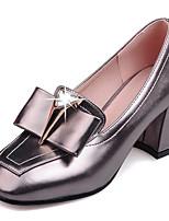 Damen-High Heels-Kleid / Lässig / Party & Festivität-Kunstleder-Blockabsatz-Absätze / Quadratische Zehe / Geschlossene Zehe-Rot / Silber