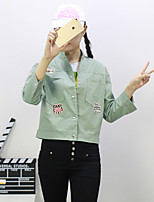 Women's Casual/Daily Simple Spring Jackets,Solid Shirt Collar Long Sleeve Green Cotton Medium