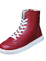 Men's Sneakers Spring / Fall / Winter Round Toe PU Casual Flat Heel Others / Lace-up Black / Red / White