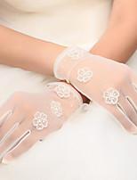 Korean Wrist Length Fingertips Glove Net Bridal Gloves with Beading / Appliques / Pearls