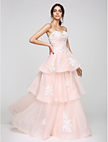 TS Couture® Formal Evening Dress A-line Sweetheart Floor-length Organza with Appliques / Beading / Tiers