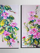 lienzo conjunto Floral/Botánico Estilo europeo,Dos Paneles Lienzos Vertical lámina Decoración de pared For Decoración hogareña