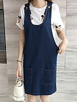 Women's Plus Size / Casual/Daily Simple / Cute Shift / Denim Dress,Solid Strap Above Knee Sleeveless Blue Cotton