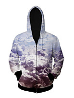 3D  Hoodie Long Sleeve Clouds Printing Clothing