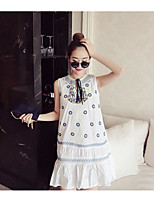 Maternity Casual/Daily Simple Loose Dress,Print Round Neck Above Knee Sleeveless Blue / White Polyester Summer