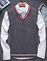 Herren Pullover-Einfarbig Freizeit Baumwolle / Polyester Lang Blau / Grau