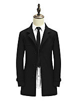 Men's Solid Casual / Work Trench coat,Polyester Long Sleeve-Black / Blue / Yellow