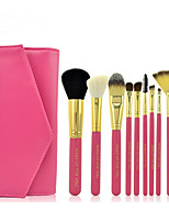 10 Makeup Brushes Set Goat Hair Professional / Full Coverage Wood