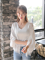 Women's Going out Simple / Cute Cardigan,Solid White Round Neck ½ Length Sleeve Cotton Summer Medium
