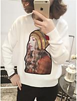 Damen Standard Pullover-Lässig/Alltäglich Einfach Druck Rot / Weiß / Schwarz / Grau Rundhalsausschnitt Langarm Kaninchen-PelzFrühling /