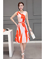 Women's Casual/Daily Simple Swing Dress,Print V Neck Knee-length Sleeveless Orange Rayon Summer