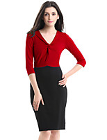 Women's Plus Size / Casual/Daily / Work Street chic Bodycon Dress,Color Block V Neck Knee-length ¾ Sleeve