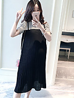Maternity Holiday Cute Loose Dress,Solid Round Neck Knee-length Sleeveless Black Cotton Summer