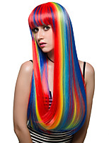 Rainbow color long hair, fashion wig