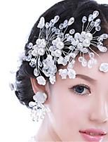 Vrouwen Licht Metaal Helm-Bruiloft Bloemen 1 Stuk Wit