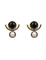 Earring Geometric Stud Earrings Jewelry Women Fashion / Vintage / Punk Style Party / Daily / Casual / Sports Gold Plated 1 pair Black