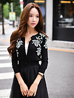 Women's Going out / Casual / Holiday Vintage / Street chic Short Cardigan,Solid / Print Round Neck Long Sleeve