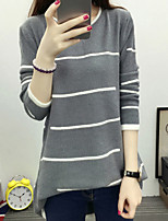 Women's Casual/Daily Simple Regular Pullover,Striped Red / Black / Gray / Green Round Neck Long Sleeve