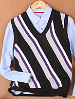 Men's Striped Casual Vest,Cotton Sleeveless Green / Purple / Gray